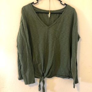 Olive long sleeve with front tie design